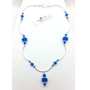 Blue Glass & Crystal Necklace